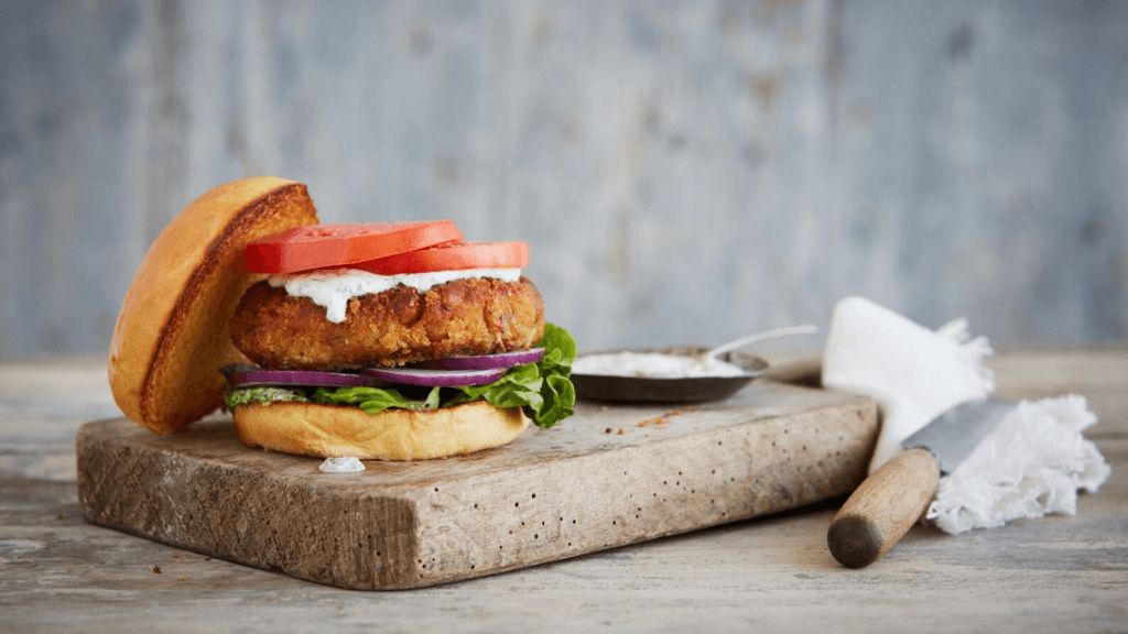 Vibrant Chickpea Daal Burger With Herby Mayo