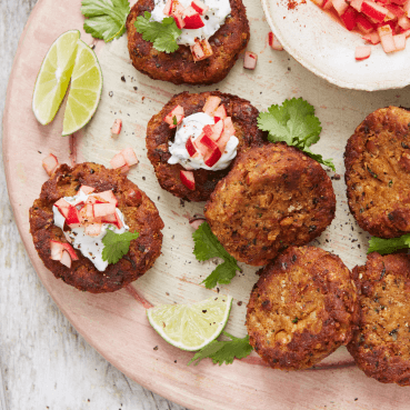 Spiced Chickpea Cakes with a Radish and Yogurt Topping