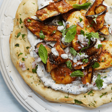 Grilled Halloumi and Eggplant Wraps with Herbed Yogurt