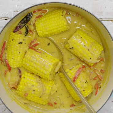 Keralan Coconut Broth with Corn-on-the-Cob and Cannellini Beans